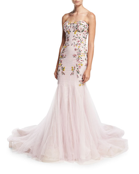 Strapless Embroidered Mermaid Gown, Blush