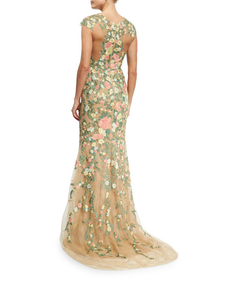 Embroidered Floral Cap-Sleeve Gown