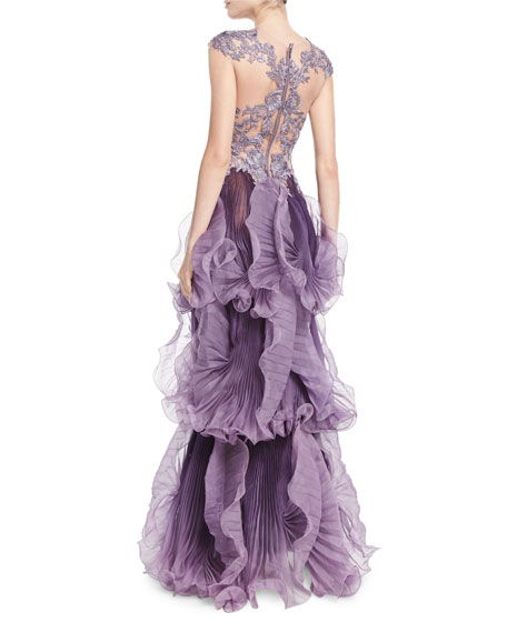 Sleeveless Illusion Pleated Gown, Violet