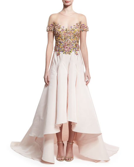 Embroidered-Bodice High-Low Gown, Nude