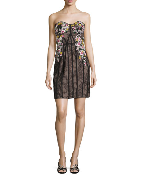 Strapless Floral-Embroidered Lace Corseted Dress, Black