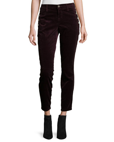 Zion Mid-Rise Velvet Skinny Ankle Jeans, Red