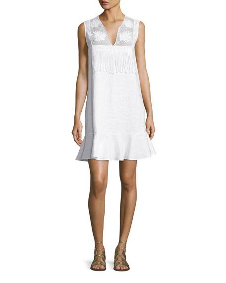 Miguelina Blanche Fringe-Trim Flounce Dress, Pure White