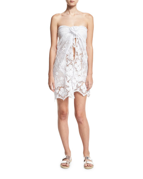 Layna Cotton Lace Pareo Coverup, White