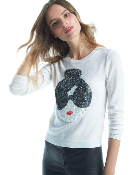 Alice + Olivia Stace Face Peekaboo Sequined Sweater