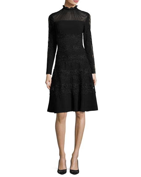 Elie Tahari Cora Ruffle-Collar Embroidered A-Line Dress, Black