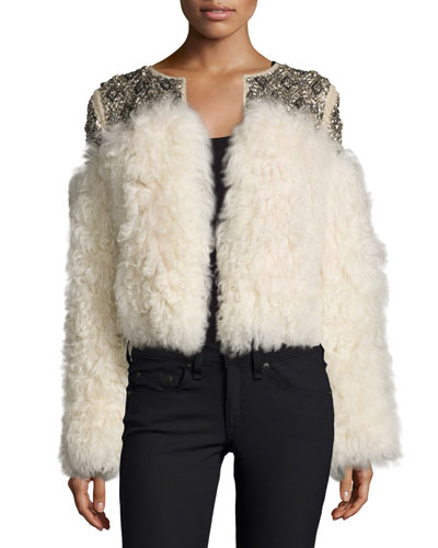 Beaded Shearling Jacket, Antique