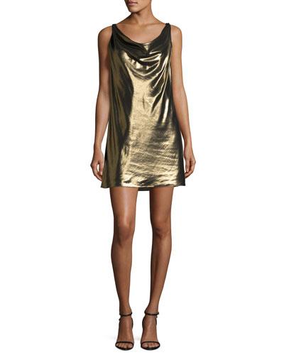 Morton Lamé Cowl Slip Dress, Gold