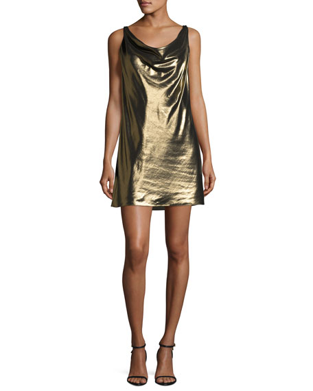 Haute Hippie Morton Lamé Cowl Slip Dress, Gold