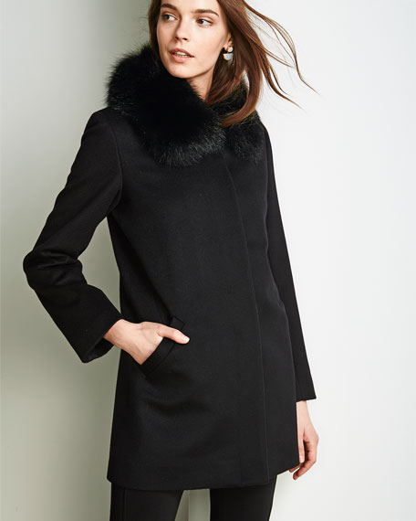 LS COVERED PLACKET FUR COLLA