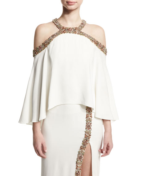 Monique Lhuillier Beaded Cold-Shoulder Top, White