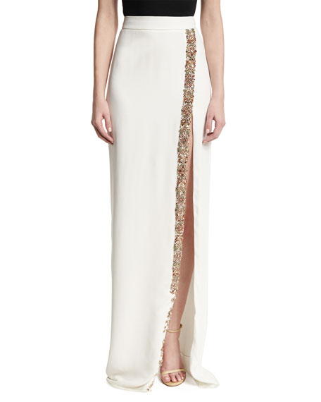 Monique Lhuillier Beaded Front-Slit Maxi Skirt, White