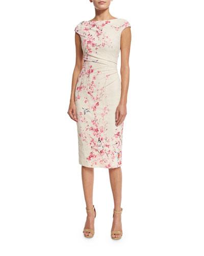 Cherry Blossom Cap-Sleeve Cocktail Dress, Cream/Multi