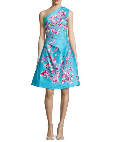 Cherry Blossom One-Shoulder Cocktail Dress, Aquamarine/Multi