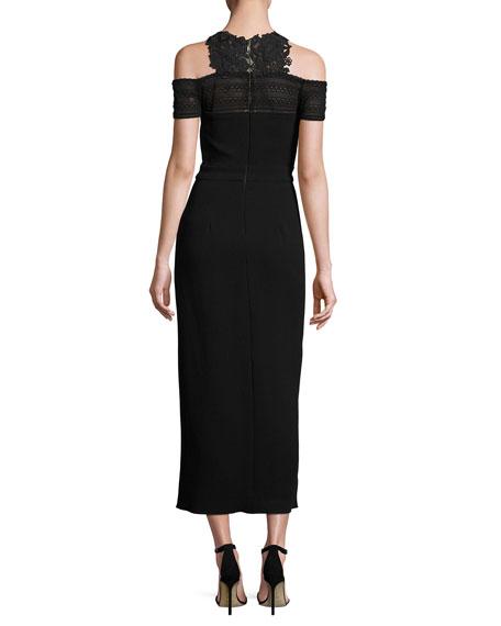 Lace-Trim Cold-Shoulder Midi Dress, Noir