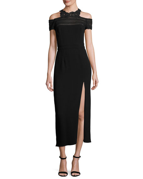 Monique Lhuillier Lace-Trim Cold-Shoulder Midi Dress, Noir