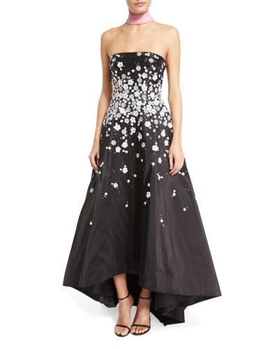 Strapless Floral-Appliqué High-Low Gown, Azalea