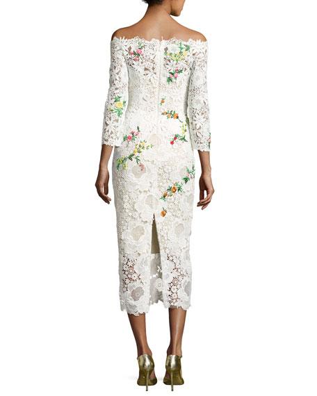 Floral Lace Off-the-Shoulder Midi Dress, White/Multi