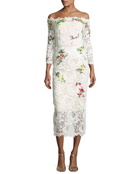 Monique Lhuillier Floral Lace Off-the-Shoulder Midi Dress,