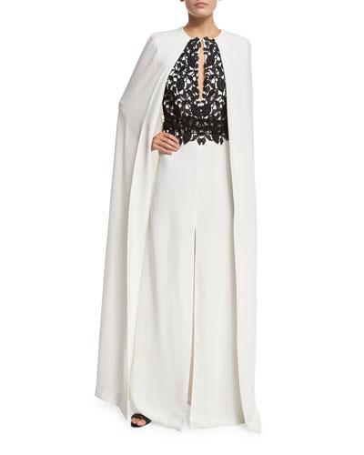 Lace-Bodice Front-Slit Cape Gown, White/Black