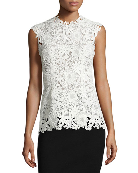 """Our lace top—equipped with classic shaping seams and swoon-worthy peplum—will lend a pretty touch to downtown denim and classic pencil skirts alike. Lace peplum top in black Jewel neck; sleeveless Hidden back zip closure Lined Approx. 23 1/4"""" from shoulder Nylon."""