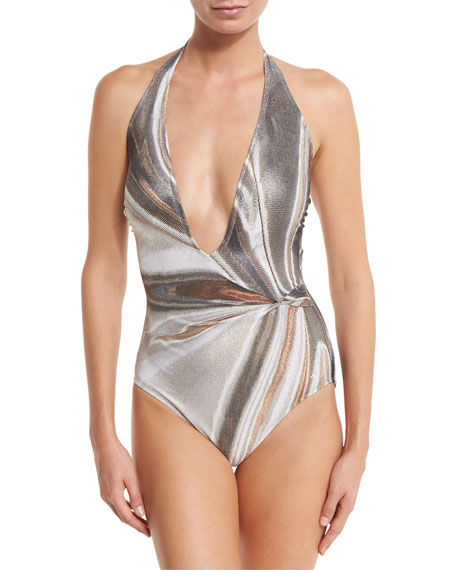 Gottex Agate Lamé Plunging Halter One-Piece Swimsuit