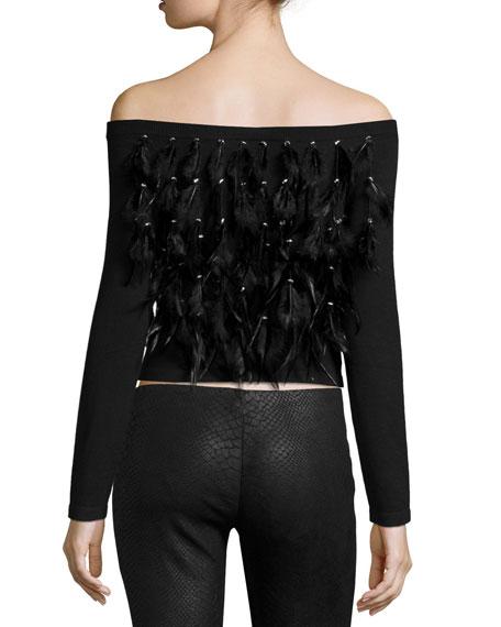 Cropped Feather Fringe Off-the-Shoulder Sweater, Black