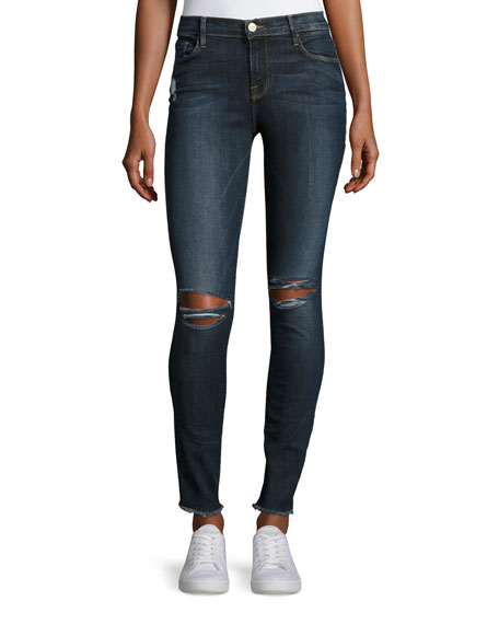 FRAME Le Skinny De Jeanne Raw-Edge Jeans, King's