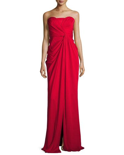 Silk Sweetheart Column Gown, Red