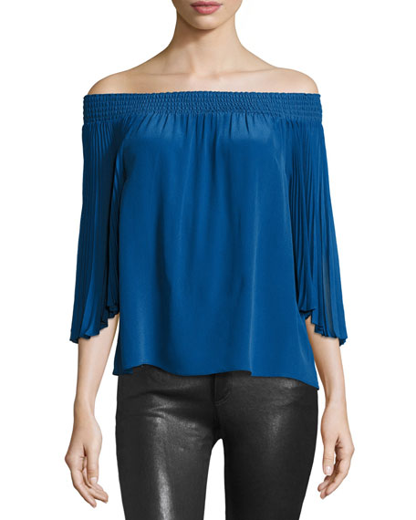 Alice + Olivia Elina Smocked Off-the-Shoulder Peasant Top,