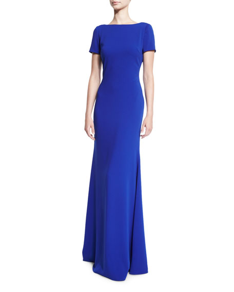 Short-Sleeve Stretch Crepe Gown, Electric Blue