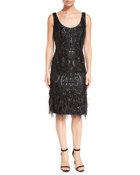 Sleeveless Faux Feather-Trim Patterned Cocktail Dress, Black