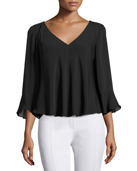 Amanda Uprichard 3/4 Bell-Sleeve Georgette Blouse, Black