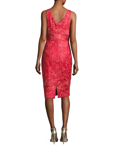 Sleeveless Embroidered Cocktail Dress, Red