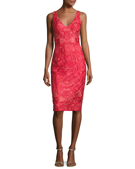 David Meister Sleeveless Embroidered Cocktail Dress, Red