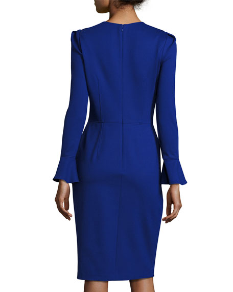 Long-Sleeve Stretch Crepe Sheath Dress, Iris