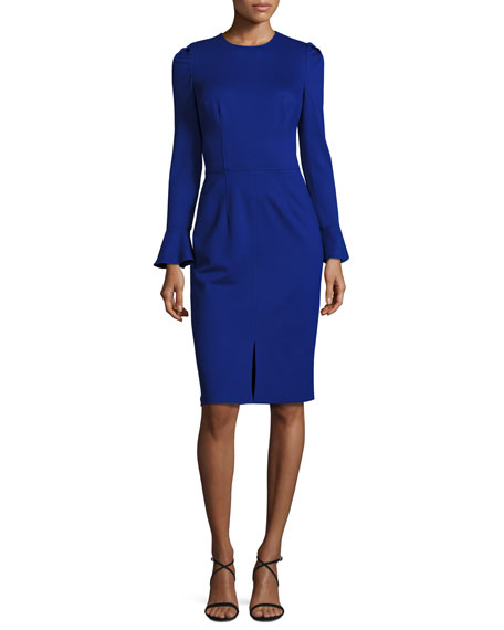David Meister Long-Sleeve Stretch Crepe Sheath Dress, Iris