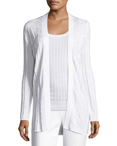 M Missoni Zigzag Knit Long Cardigan, White