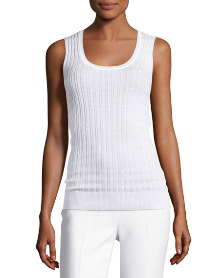 M Missoni Zigzag Knit Tank Top, White