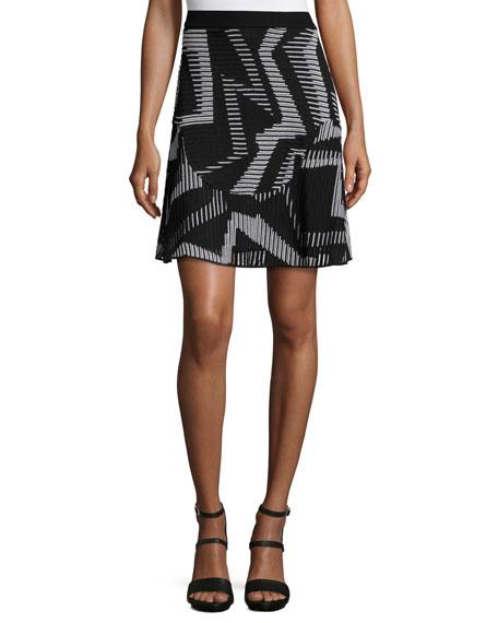 M Missoni Ribbed Geometric-Patterned Fit-&-Flare Skirt, Black