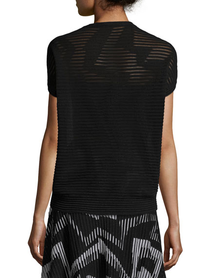 Short Dolman-Sleeve Ribbed Top, Black
