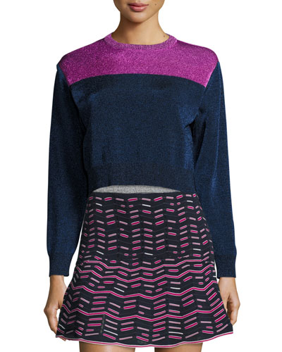 Metallic Colorblock Crewneck Sweater, Ink
