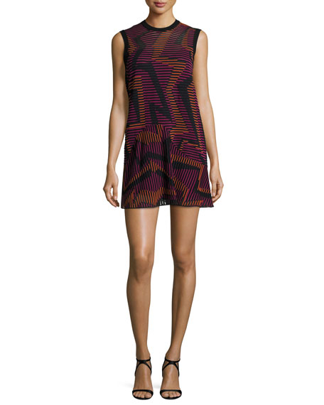 M Missoni Sleeveless Ribbed Geometric-Knit Dress, Fuchsia