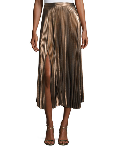 Bobby Pleated Metallic Midi Skirt, Rose Gold