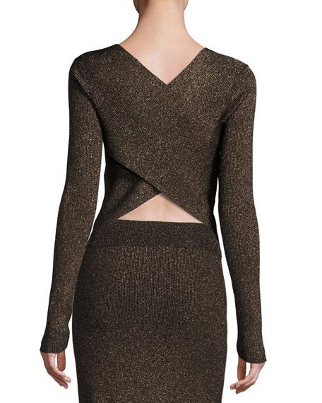 A.L.C. Chance Ribbed Metallic Sweater, Black/Apricot