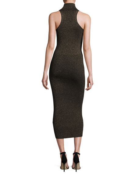 Marc Metallic Racerback Midi Dress, Black/Apricot