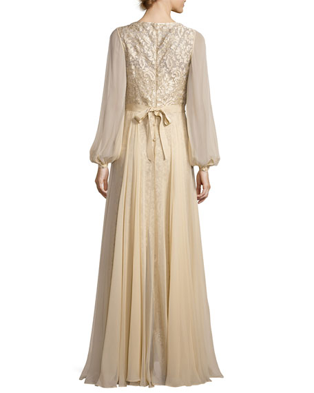Long-Sleeve Embroidered Tulle & Silk Chiffon Gown, Champagne