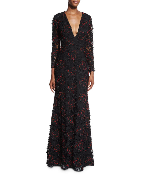 Sachin & Babi Long-Sleeve Beaded Lace Gown, Onyx