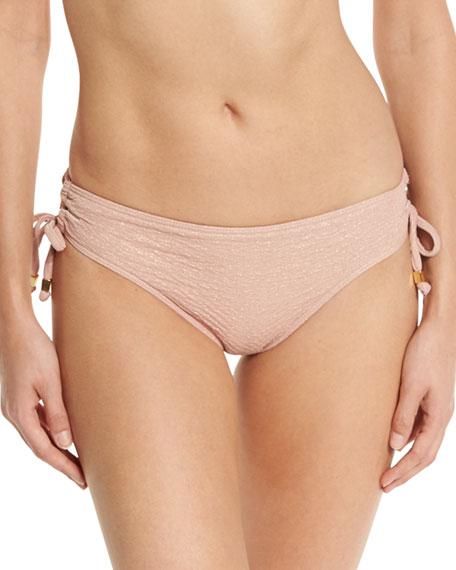 Metallic Tie-Side Cheeky Swim Bottom, Rose Gold