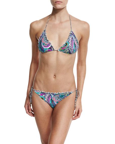 Paisley Ruffle-Trim Triangle Bikini Set, Multi
